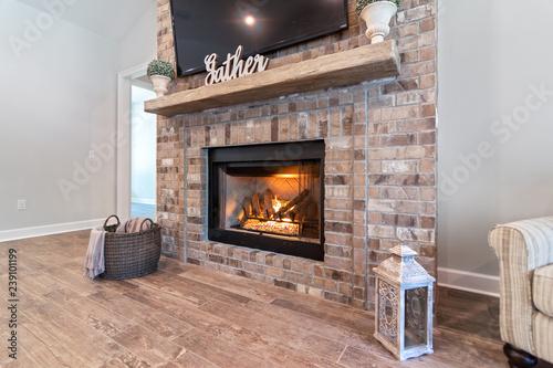 Stampa su Tela Brick Fireplace