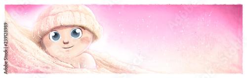 Obraz na plátně bebe feliz con gorro y manta