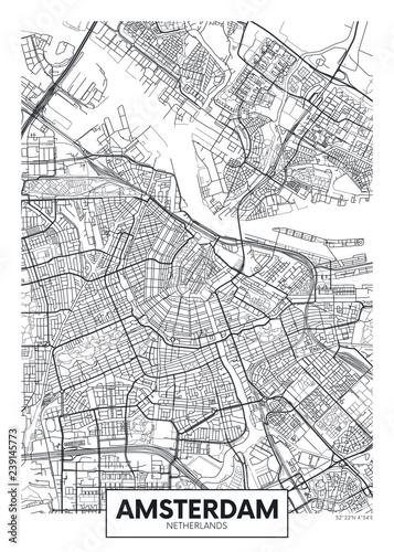 Fototapeta premium Mapa miasta Amsterdam, projekt plakatu wektor podróży