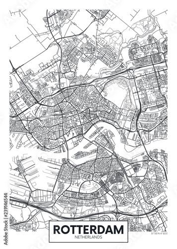 Obraz na plátně City map Rotterdam, travel vector poster design