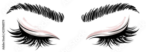 Fotografiet illustration of eye makeup and brow on white background