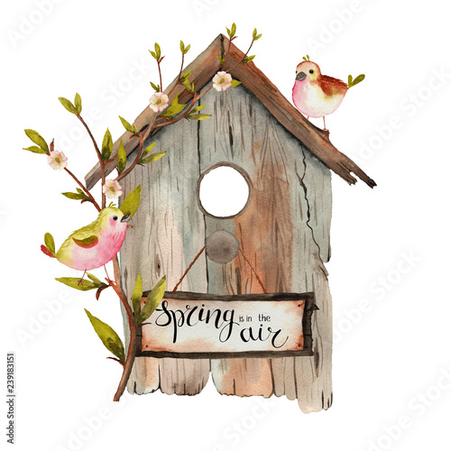 Photo Watercolor spring birdhouse with shoots,  twigs, branches, birds on a white back