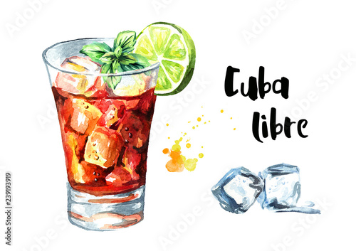 Fotografie, Obraz Cuba Libre cocktail with lime and mint