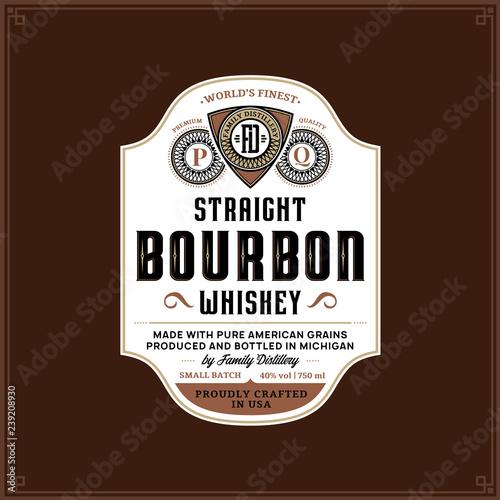 Bourbon label template Fototapeta