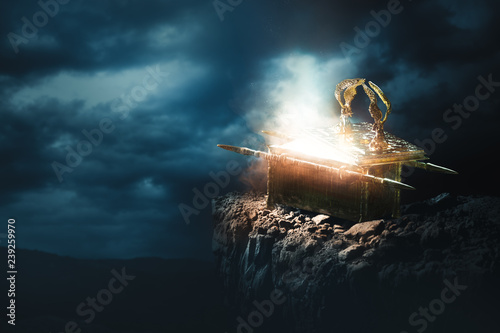 Fototapeta Ark of the covenant at the top of a mountain / 3D Rendering