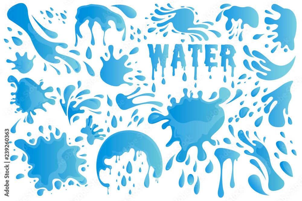 Blue Water Drop or Splash Set Decor Element Include of Droplet, Splashing, Raindrop and Tear. Vector illustration EPS10 <span>plik: #239260363 | autor: denisxizer</span>