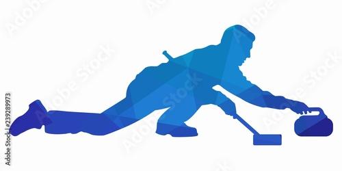 Fotomural illustration of figure curling player , vector draw
