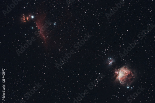 The Horsehead, Flame, and Orion Nebula photographed from Wachenheim in Germany.