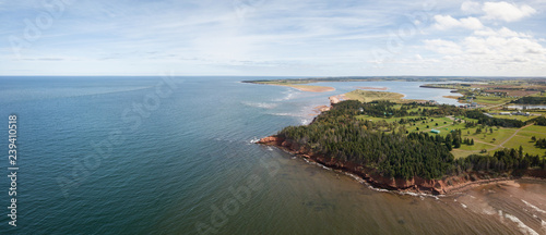 Fotografering Aerial panoramic view of a beautiful rocky shore on the Atlantic Ocean