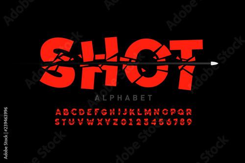 Obraz na plátně Bullet shot font, alphabet letters and numbers
