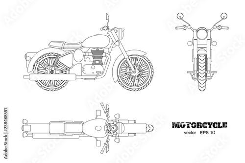 Fototapeta premium Retro klasyczny motocykl w stylu konspektu. Widok z boku, z góry i z przodu. Rysować rocznika motocykl na białym tle