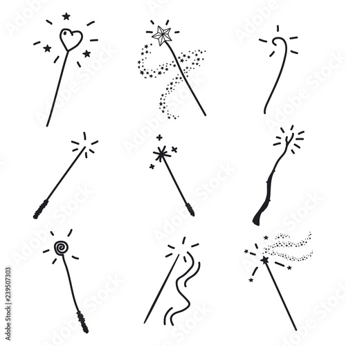 Fototapeta Magic wand doodle set
