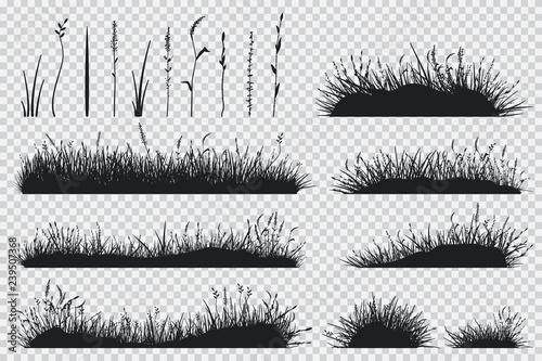 Canvas Print Grass black silhouette