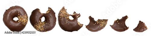 Six stages of donut biting on white background