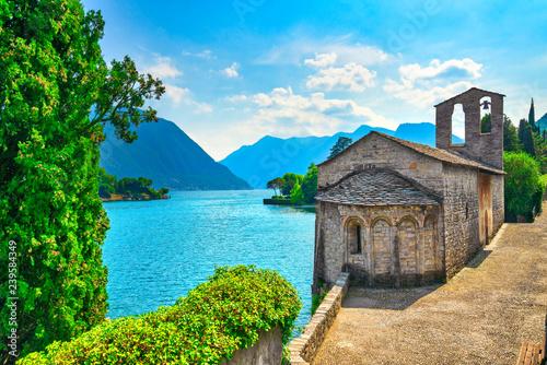 Fototapeta San Giacomo church Ossuccio Tremezzina, Como Lake district