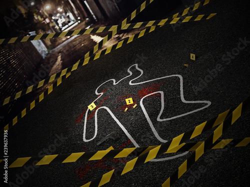 Fotografia Crime scene of a murder case. 3D illustration