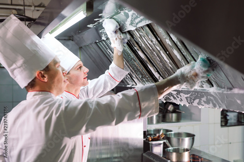 Sanitary day in the restaurant. Repeats wash your workplace. Cooks wash oven, stove and extractor in the Restaurant.