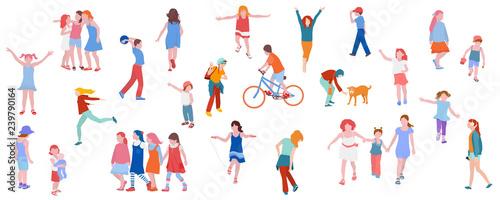 Canvas Print Set of illustrations of kids activity
