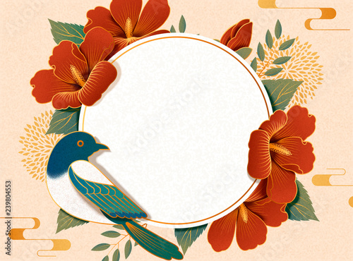 Canvas Print Hibiscus and magpie background