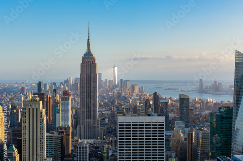 Fotografering New York city view of Downtown with Empire state building and  One World trade c