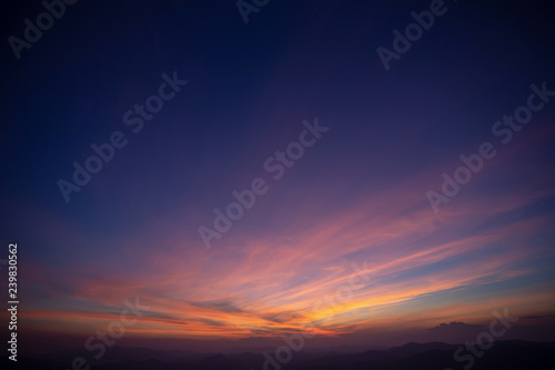 Sunset with Colorful dramatic sky in the countryside.