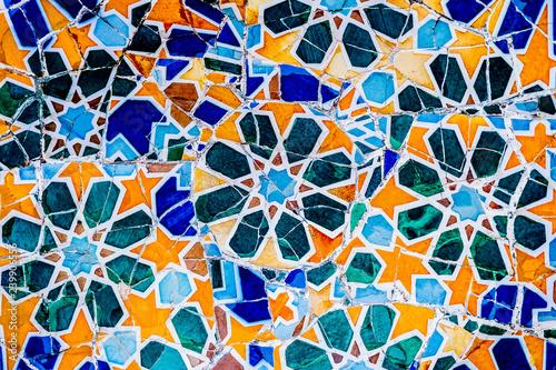 Céramiques mosaïques, art de Gaudi, Parc Guell de Barcelone Fototapet