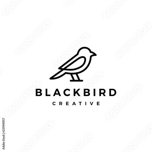bird logo vector line outline monoline art icon