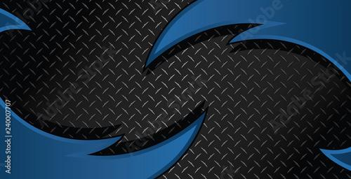 Fotografia, Obraz Blue Razor Diamond Plate Textured Vector Background Illustration