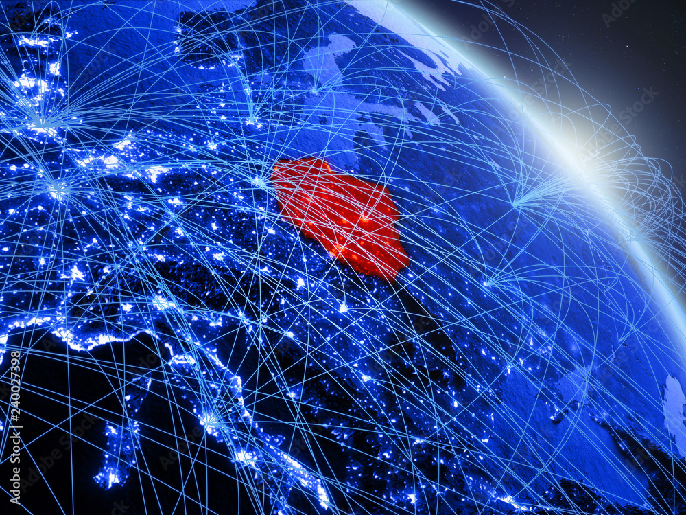 Polska z kosmosu na modelu niebieskiej cyfrowej planety Ziemia. Koncepcja niebieskiej technologii cyfrowej, łączności i podróży. <span>plik: #240027398 | autor: harvepino</span>