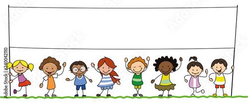 multiethnic group of kids holding blank banner illustration