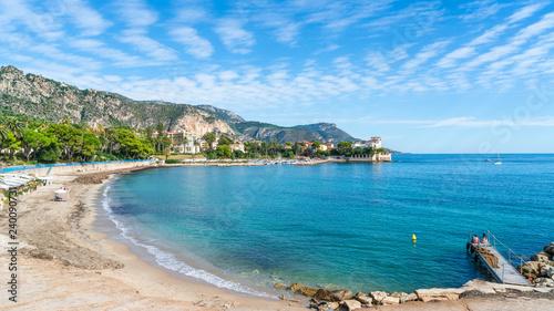 Canvas Print Landscape with amazing beach Baie des Fourmis, Beaulieu sur Mer,  Cote d'Azur, F