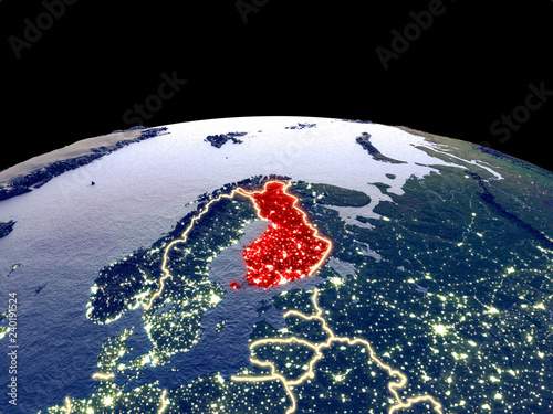 Wallpaper Mural Finland from space on planet Earth at night with bright city lights