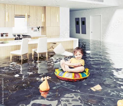 Slika na platnu boy in the flooded room