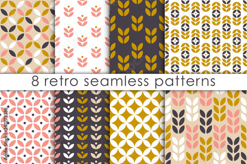Set of floral seamless pattern in scandinavian style. Retro geometric textures collection. Vector wallpaper.