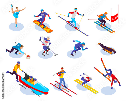 Canvas Print Winter Sports Isometric Icons Set