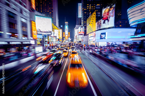Times Square with motion blur at night