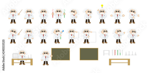 Canvas Print Illustration of a cartoon professor figure in various poses