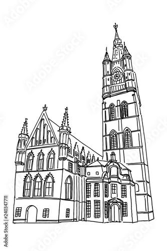 Leinwand Poster vector sketch of Belfry of Ghent, Belgium.