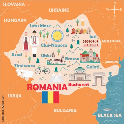 Photo Stylized map of Romania