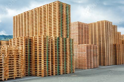 Canvas Print immeubles en palettes de bois