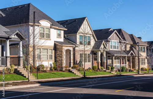 Canvas Print Row of houses in a suburb Wilsonville Oregon.