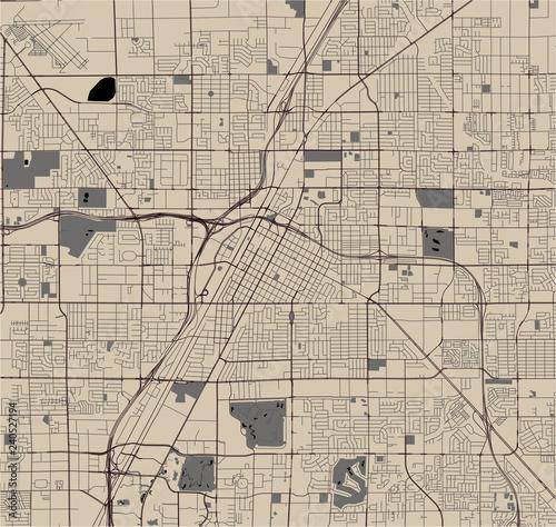 Obraz na plátně map of the city of Las Vegas, Nevada, USA