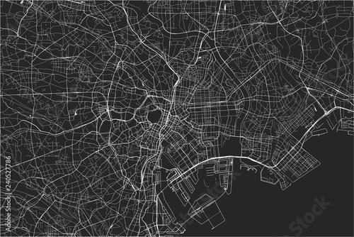 Fotografie, Obraz map of the city of Tokyo, Kanto, Island Honshu, Japan