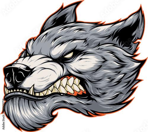 Photo Head of a fierce werewolf wolf