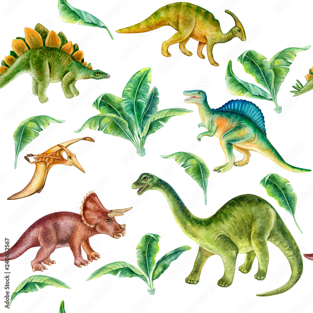 Dinosaur set. Seamless pattern, wallpaper with tropical leaves. Predator animal of the prehistoric period. Illustration. Watercolor. Template. Hand drawing. Clipart. Close-up