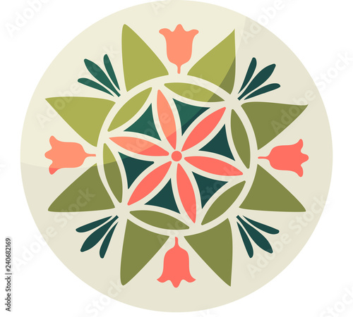 Fotografiet Pennsylvania Fancy Dutch folk art vector illustration: Hex sign with Six-petal rosette