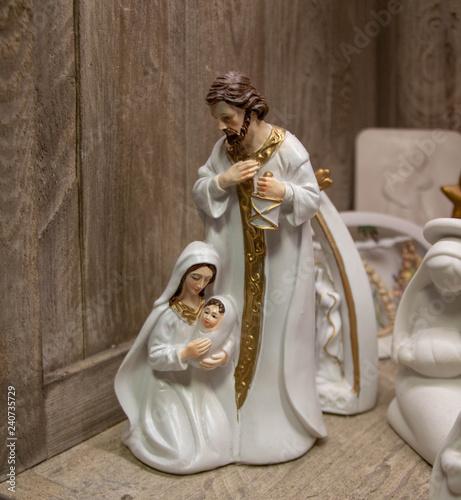 Obraz na płótnie Classique scène de nativité dans une crèche de noël provençale, objet détouré, c