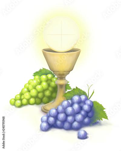 Komunia hostia winogrona