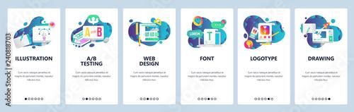 Web site onboarding screens. Graphic design, web and logotype design, computer fonts. Menu vector banner template for website and mobile app development. Modern design linear art flat illustration.