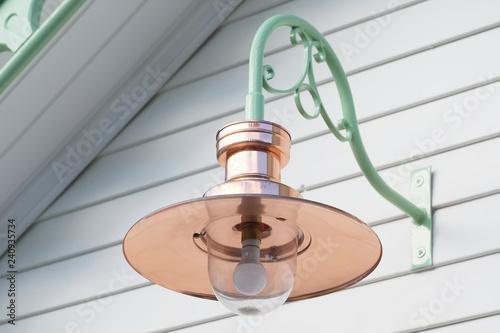 Slika na platnu Copper lamp light and large glass blue in lantern from victorian design vintage